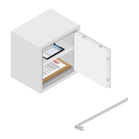 Metal steel money bank safe with invoice and top secret documents and crowbar raster icon isometric view. Breaking into safe Zdjęcie Seryjne