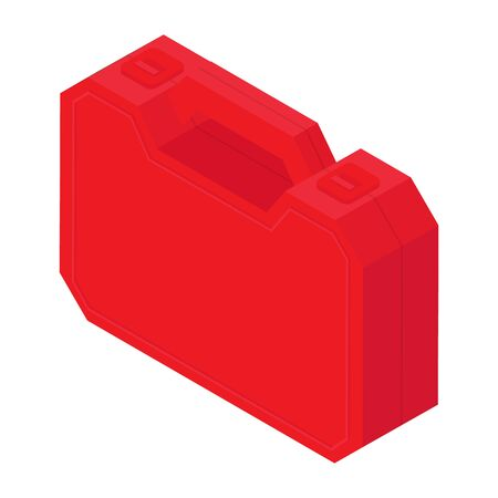 Plastic red tool box isolated on white background isometric view. Raster