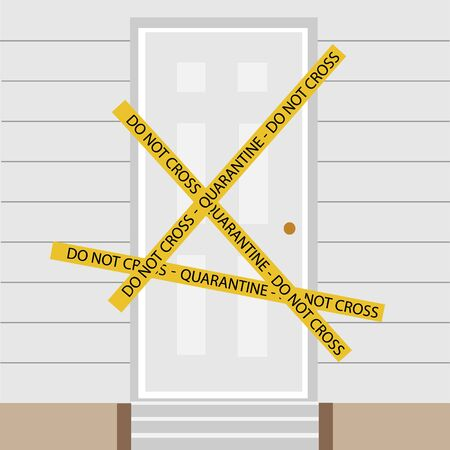 Quarantine tape do not cross. Warning sign of quarantine. Coronavirus, Covid-19 outbreak. Quaratine tape across closed door Zdjęcie Seryjne