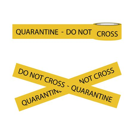 Quarantine tape do not cross isolated on white background. Warning sign of quarantine. Coronavirus, Covid-19 outbreak.