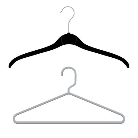 Black and grey plastic coat hangers, clothes hanger on a white background