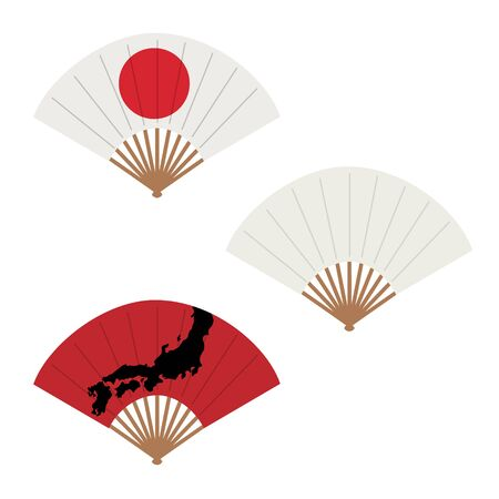Oriental japan fan set isolated on white background. Traditional paper chinese or japanese geisha raster folding fans