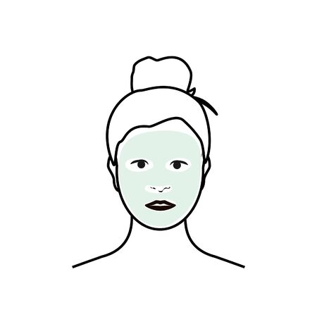 Woman with facial mask on her face isolated on white background. Beauty fashion girl apply facial mask. Banque d'images