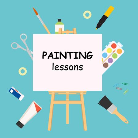 Painting lessons. Easel for painting workshop. Paint artists workspace concept, raster painter worker artistic design studio canvas and picture image materials, painting background