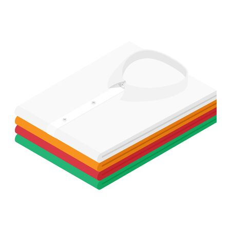 Classic men's shirts stacked on white background. Colorful formal business folded shirts isometric view