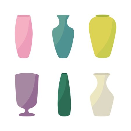 Ceramic vases collection. Colored ceramics vase, antique pottery cups isolated on white raster illustration.