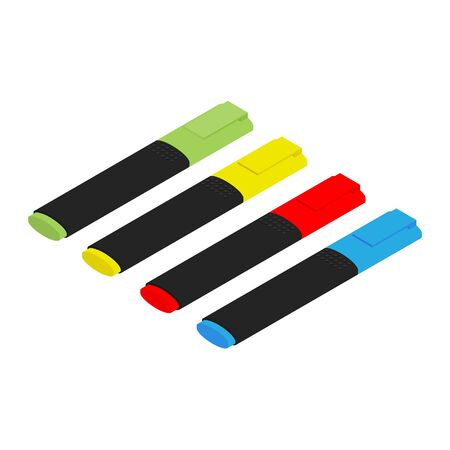 Colorful marker pens set raster. Office highlighters design elements