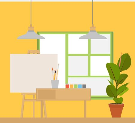 Art studio interior. Creative workshop room with canvas, paints, brushes, easel and pictures. Design salon for artists. Flat style raster illustration.