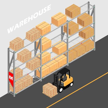 Warehouse interior with shelves, pallets, forklift and boxes. Logistic Delivery Service Concept