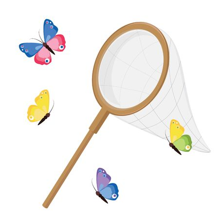 Butterfly net and colorful butterflies. Classic net design, wooden handle. raster illustration isolated on white background. Zdjęcie Seryjne