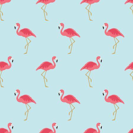raster illustration  pattern with pink flamingo. Exotic bird Zdjęcie Seryjne