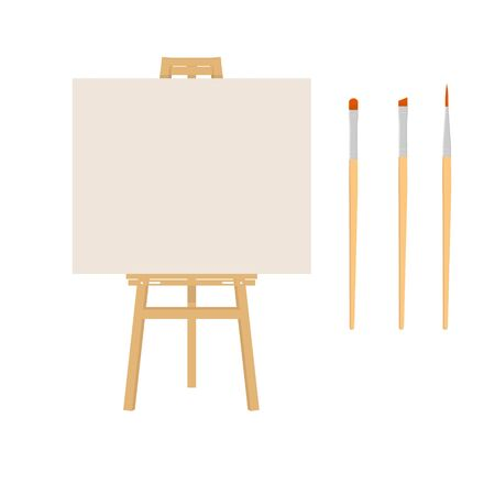 Painter art tools. Paint arts tool kit raster illustration. Painting design artists supplies, easel and brush. Draw materials