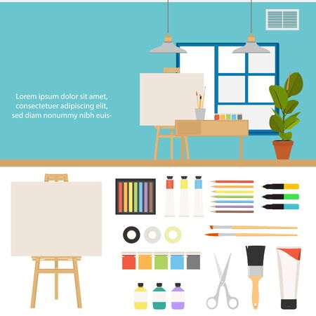 Creative set for artist. Ideas, creativity, design. Tools and materials: paint, brushes, markers , pencil, scissors, easel, palette. raster flat illustrations and background