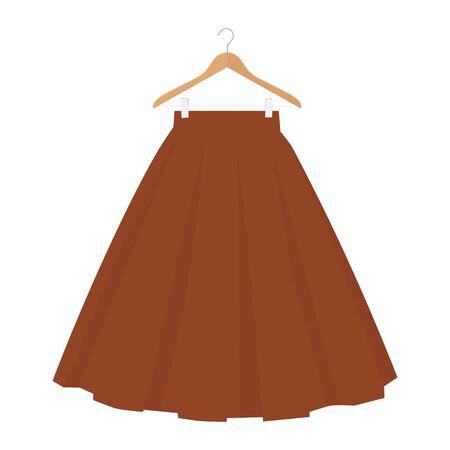 raster brown skirt template, design fashion woman illustration. Women bubble skirt on hanger