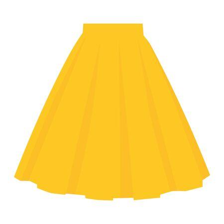 raster yellow skirt template, design fashion woman illustration. Women bubble skirt Zdjęcie Seryjne