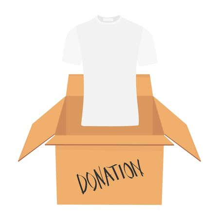 Donation Concept. Donate Box full of Clothes Zdjęcie Seryjne