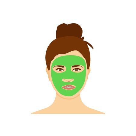 Woman with natural nourishing green mask on her face isolated on white background