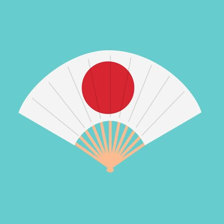 Oriental japan fan isolated on white background. Traditional paper chinese or japanese geisha raster folding fans