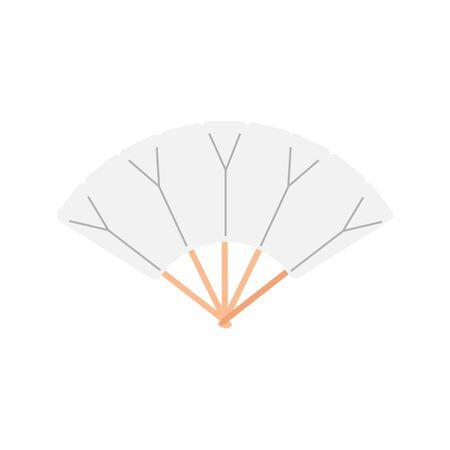 White chinese folding hand fan raster isolated on white background