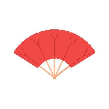 Red chinese folding hand fan raster isolated on white