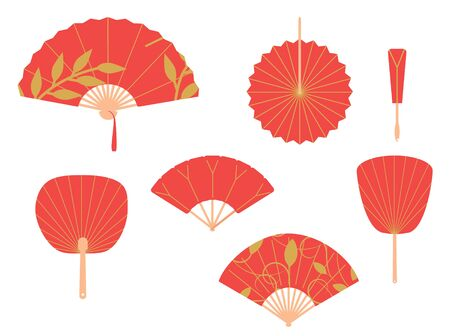 Asian fans. Red hand traditional fan set isolated on white background. Paper folding painting raster fans Zdjęcie Seryjne