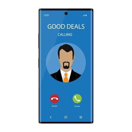 Smartphone with incoming Phone Call Screen User Interface. Good deals concept Zdjęcie Seryjne