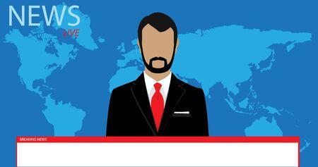 Male news presenter speaking about breaking news. World news concept Zdjęcie Seryjne