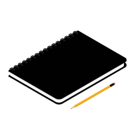 Black spiral notebook isolated and pencil on white background isometric view Zdjęcie Seryjne