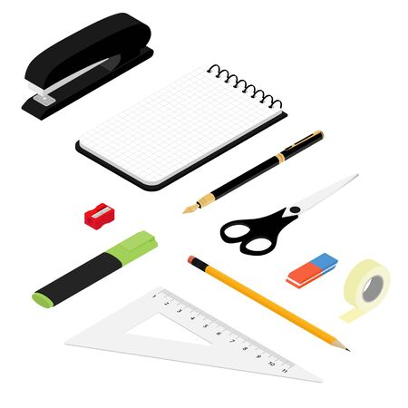 Isometric office stationery set. Collection includes adhesive tape, stapler, ruler, scissors, pen, eraser, marker, sharpener, pencil and notepad