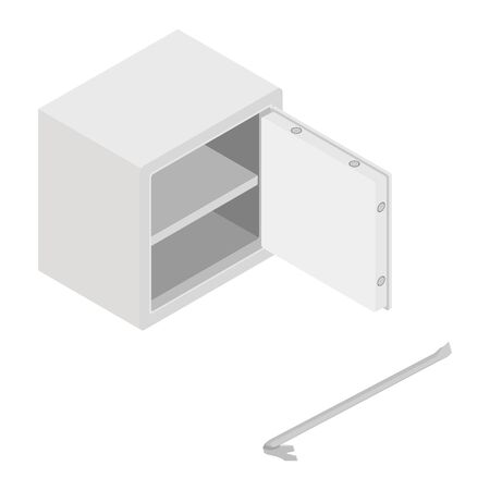 Metal steel money bank safe and crowbar raster icon isometric view. Breaking into safe