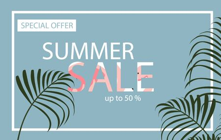 Summer sale banner with flamingo and tropical leaves background, exotic floral design for banner, flyer, invitation, poster, web site or greeting card.