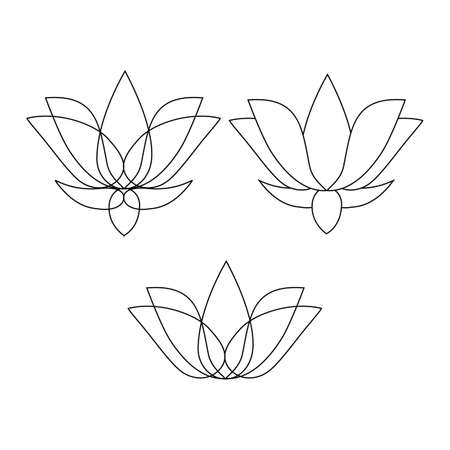 Set of stylized lotuses. Collection of lotus flowers for a logo. Black white vector illustration. Tattoo