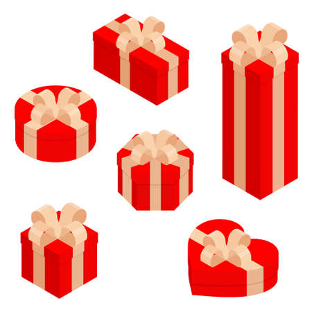 Gift boxes, presents isolated on white. Isometric view. Sale, shopping concept. Collection for Birthday, Christmas. Vector design Ilustrace