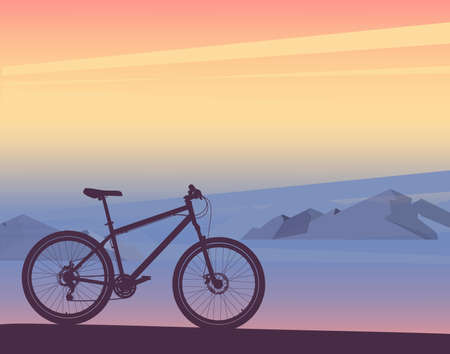 Silhouette of bicycle sunset or sunrise, mountain landscape. Vector Banco de Imagens - 150887872