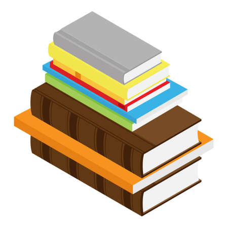 Stack of books isometric view isolated on white background Çizim