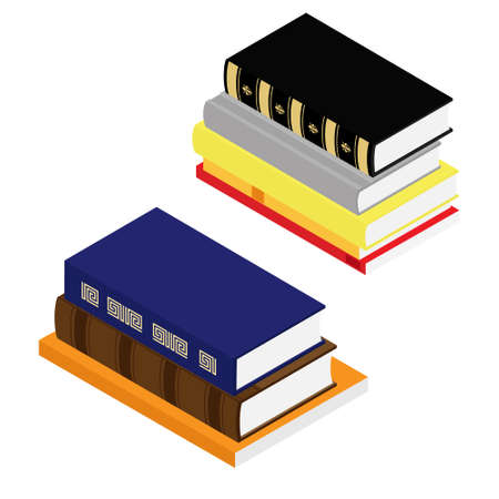 Stack of books isometric view isolated on white background