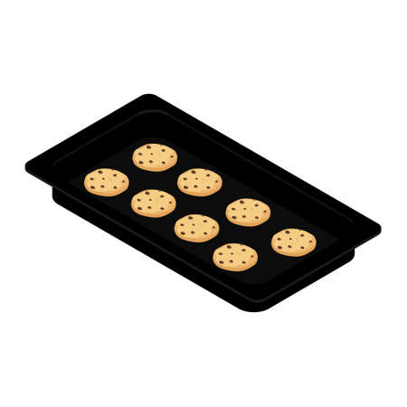 Freshly baked homemade cookies on baking tray, form. Isometric view. Vector
