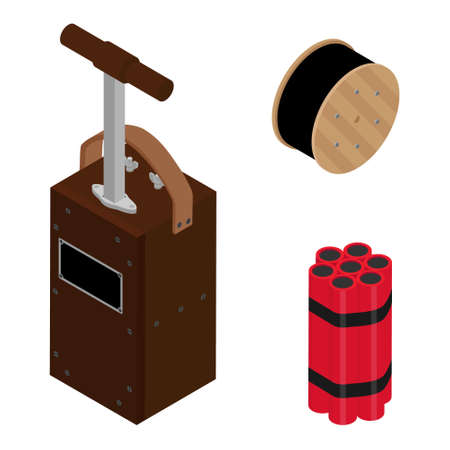 Blasting Machine or detonator box, dynamite sticks and black wire electric cable reel isolated on white background isometric view vector set. Caution explosive.