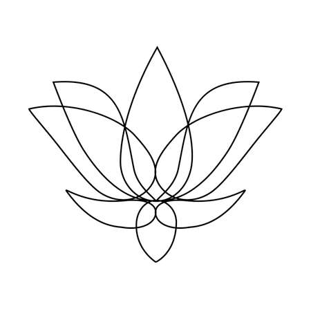 Stylized lotus. Lotus flower for a logo. Black white vector illustration. Tattoo 일러스트