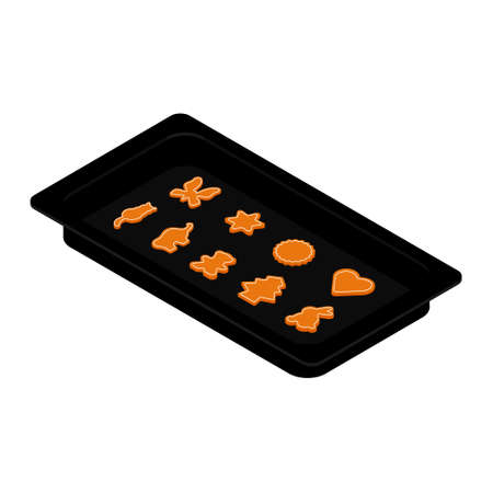 Freshly baked homemade cookies on baking tray, form. Isometric view. Vector Illustration