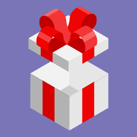 Surprise gift box. Vector. Isometric view