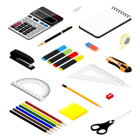 Isometric office stationery set. Collection includes adhesive tape, stapler, ruler, scissors, pen, eraser, knife,  marker, sticky notes, calculator, sharpener and notepad Banque d'images - 150887931