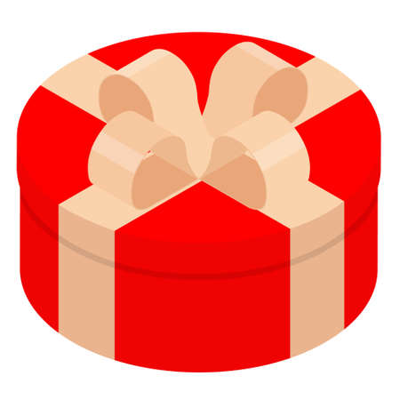 Surprise round gift box. Vector. Isometric view