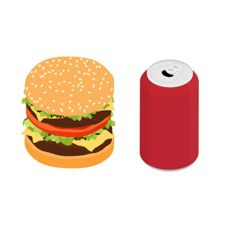 Fast food double burger and drink raster isometric view