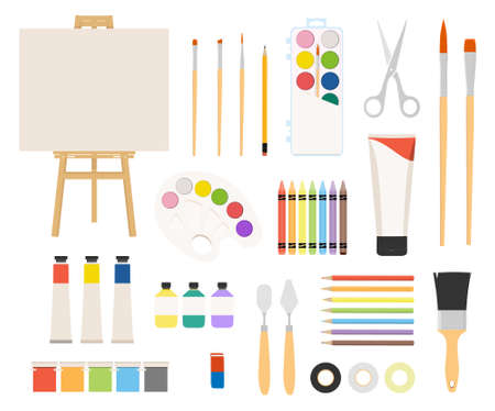 Painter art tools. Paint arts tool kit raster illustration. Watercolor painting design artists supplies, easel and palette, painting brush and draw materials