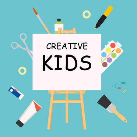 Kids art craft, education, creativity class concept. raster banner or poster with easel, hand drawn letters, pencil, brush, watercolor paints. Creative kids