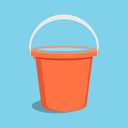Bucket with water. Flat raster illustration.