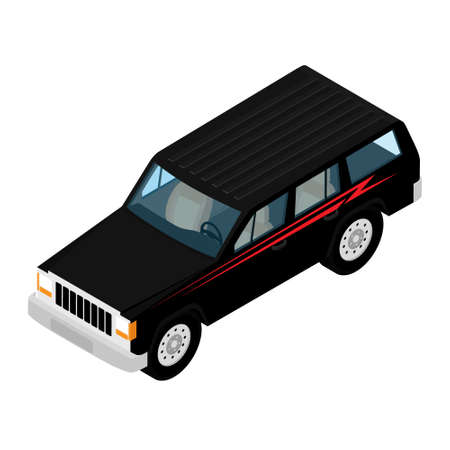 Isometric high quality city transport car icon black offroad car.