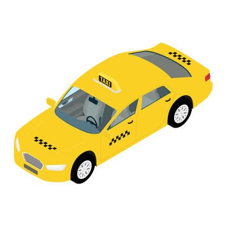 raster illustration yellow taxi car isometric view. Public transportation company taxicab Standard-Bild