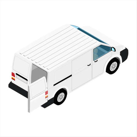 Hi-detailed Cargo Delivery Van with opened doors raster isometric view. Mockup Template for Branding and Corporate identity design on transport. Realistic White Cargo Van.